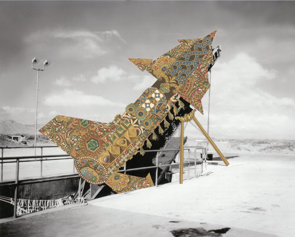 "Nike Zeus Desert Missile , collage on photograph, 15"" x 16.5"", 2016"