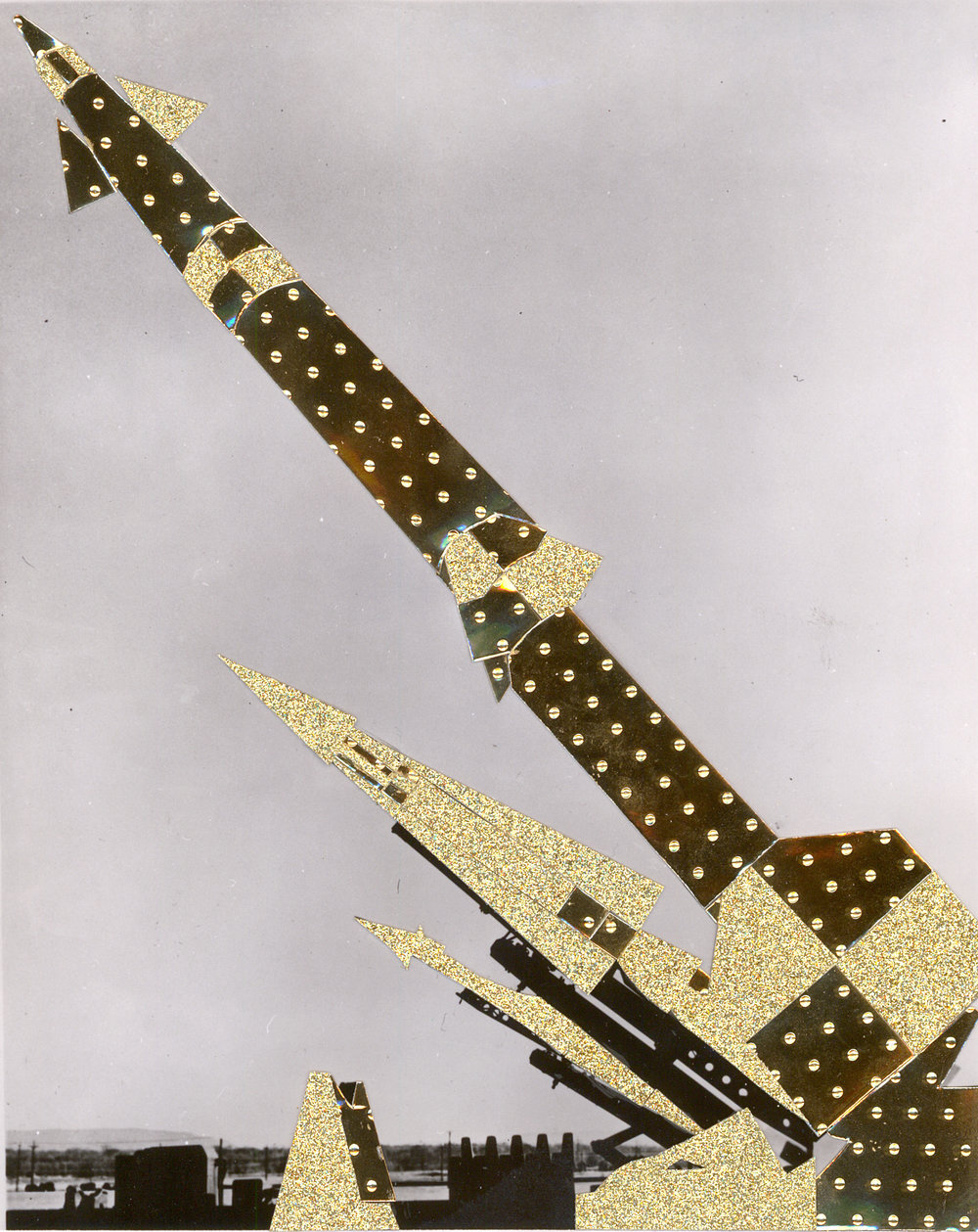 "Nike Atlas Hercules Missile , collage and glitter on photograph, 16.5"" x 15"", 2016"