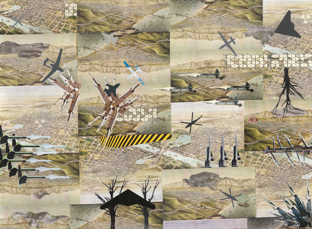 "Drone Landscape , collage on paper, 23"" x 31"", 2016"