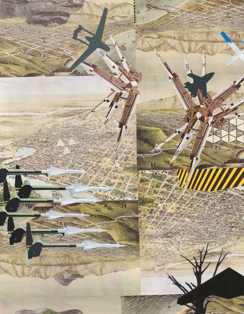 Drone Landscape (detail) , collage on paper