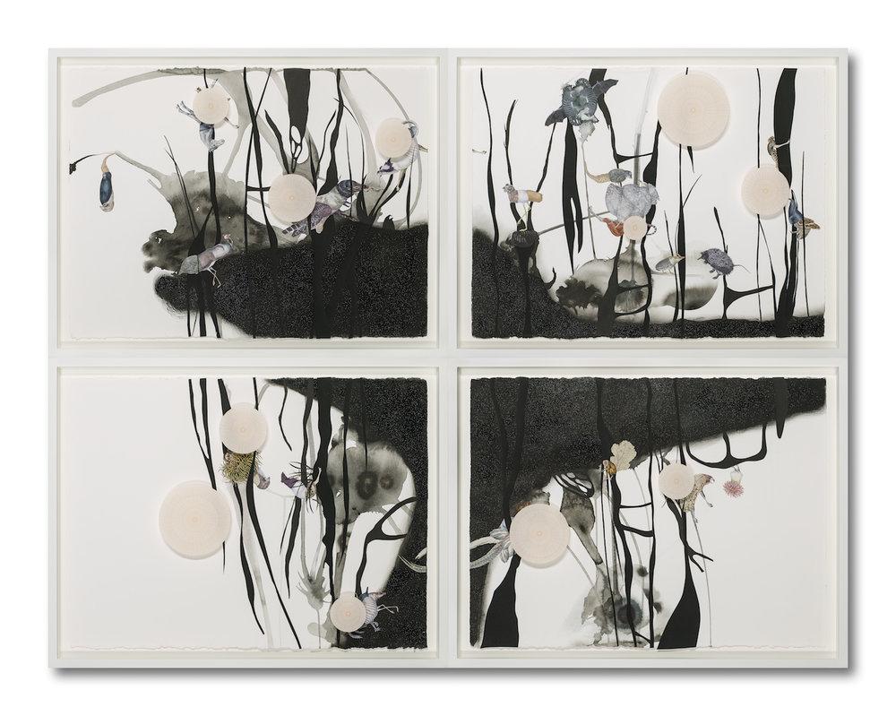 """Speculative Animals , collage, graphite powder, ink, glitter on paper, 47"""" x 60.5"""", 2018"""