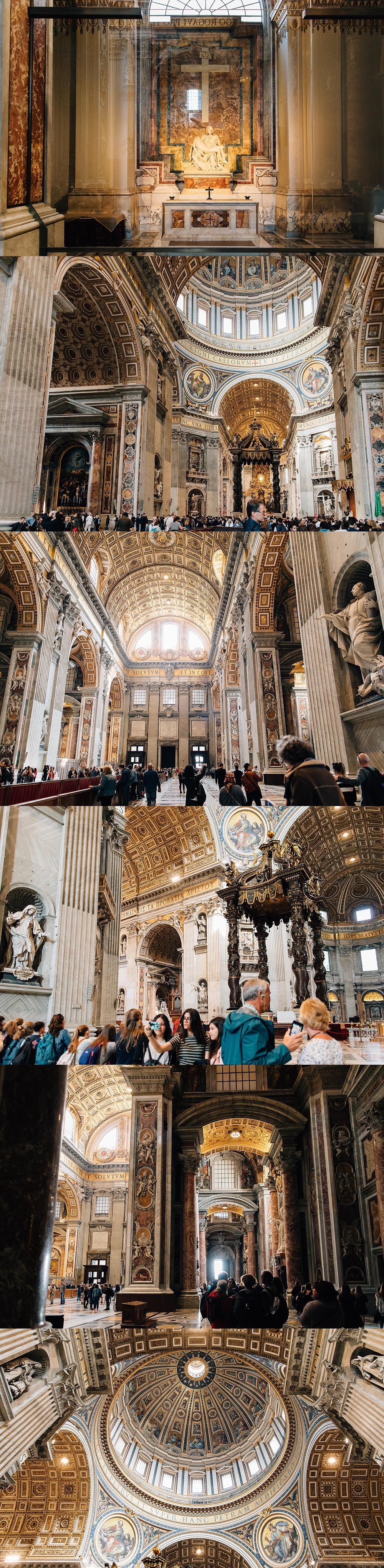 St. Peter's Basilica - a grand space richly decorated. Including Bernini's baldacchino and The Pietà by Michelangelo.
