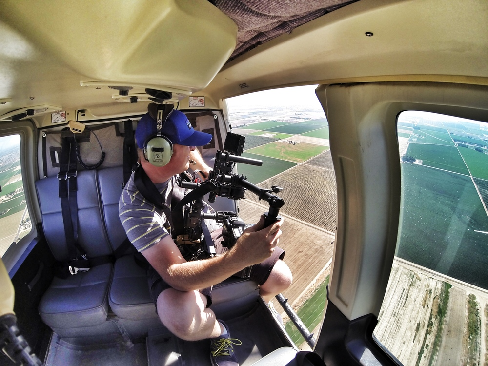 Freefly MōVI up in a LongRanger above Bakersfield