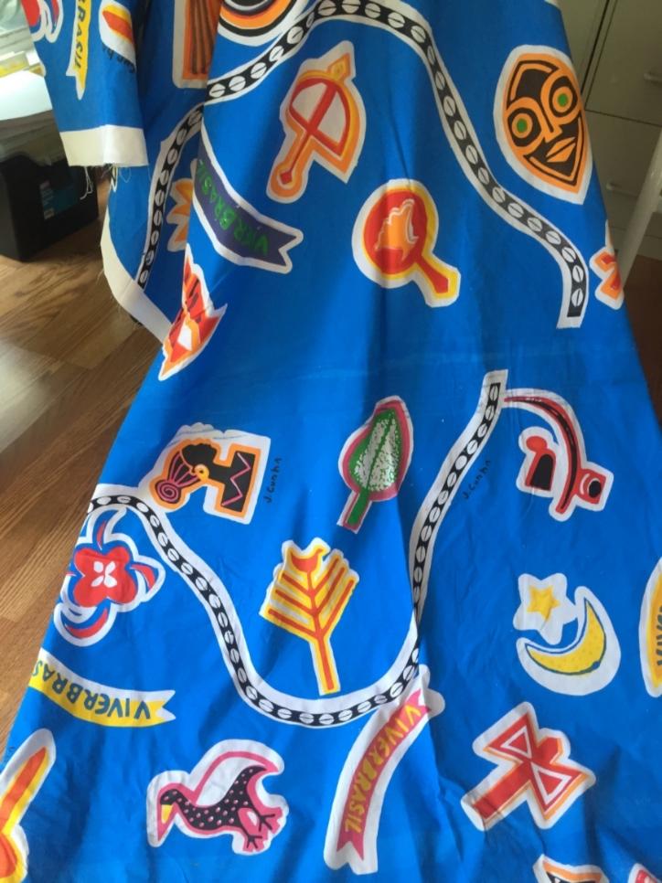 Fabric designed to honor the Orixá by J. Cunha, an award winning Bahian visual artist and Carnaval legend.