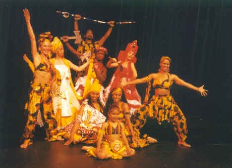 """An early promotional photo for the folkloric show. Back to front & left to right: Luiz Badaro, Linda Yudin, Ligia Bernal, Mar """"Gibi"""" Dos Santos, Angelique Bermudez, Margit Edwards Seated on the floor: Abby Almeida, Tanya Harry, Andrea (?)"""