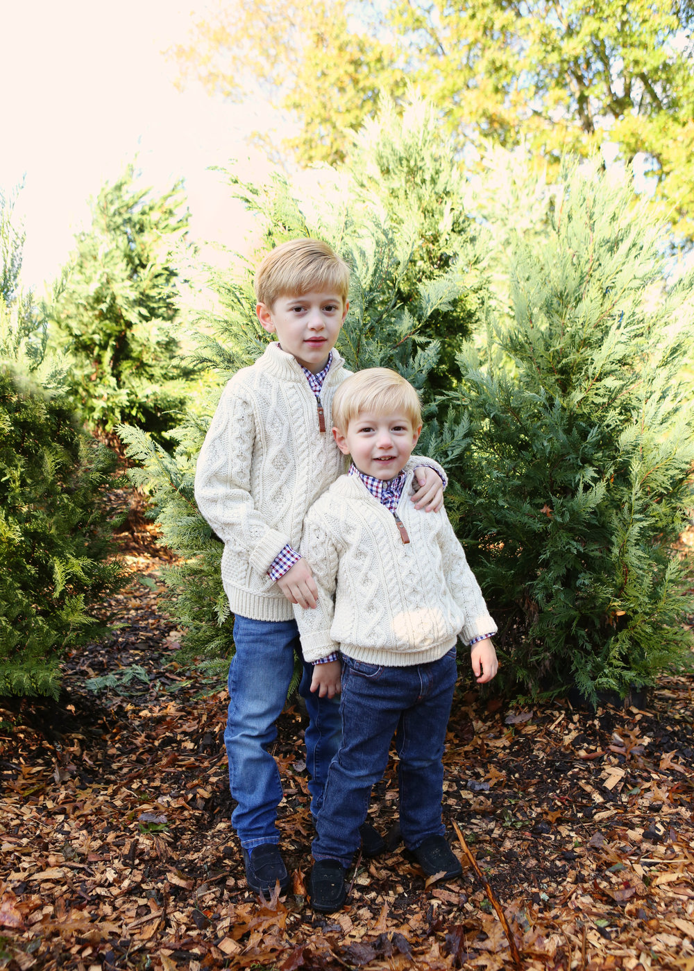 NJ and NYC based lifestyle photographer | Jennifer Lavelle Photography |  children and families, newborn, lifestyle, interiors, food and travel. Two brothers in a tree farm.