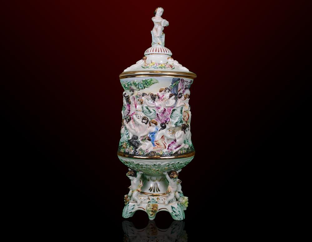 Vintage Porcelain Capodimonte Cherub Vase With Lid Pollitt Euro