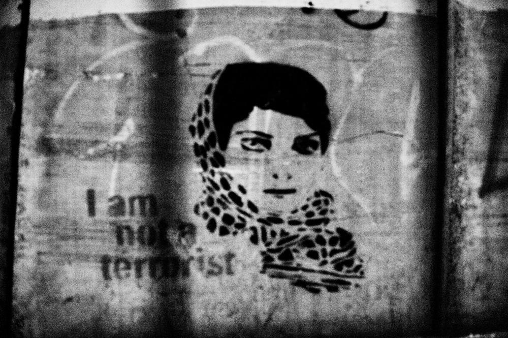 Graffiti portrait of the youngest female Palestinian martyr Ayat al-Akhras, Bethlehem. (Photo / Mark Pearson)