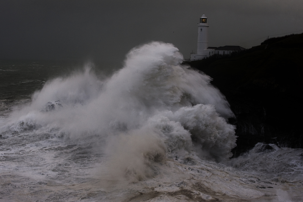 A deep Atlantic depression caused massives waves to strike the Trevose Head Lighthouse on the North Cornish coast,  January 6, 2014. (Photo / © Mark Pearson)