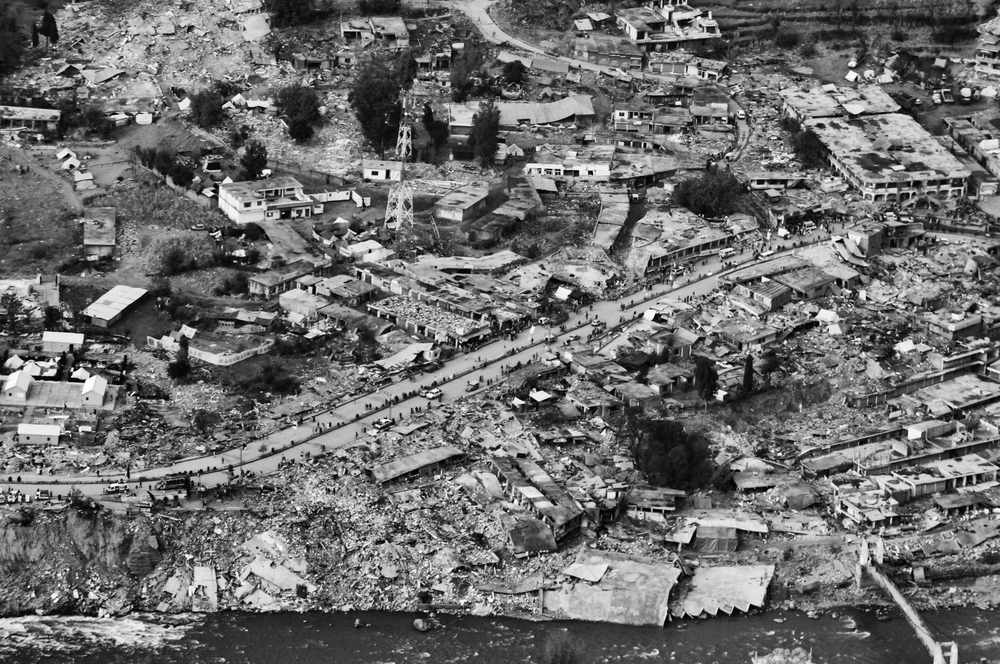 Aerial view of the destroyed town of Balakot, NWFP, Pakistan, November 12, 2005. (Photo / Mark Pearson) The massive October earthquake in Kashmir affected one of the highest and most remote places on earth. Difficult terrain slowed the relief effort and the largest scale humanitarian air operations since the Berlin blockade began.