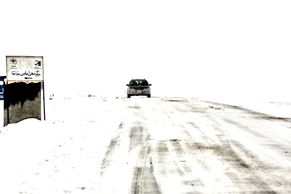 Heavy snow made parts of the A76 made for treacherous for driving near Sheberghan,  Jowzjan Province,  Afghanistan, February 14, 2008. (Photo/Mark Pearson)