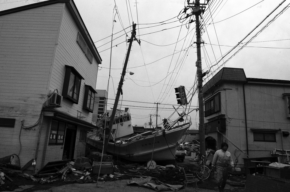 A destroyed fishing boat in Miyako city centre, Iwate, Japan, March 23, 2011. (Photo/ Mark Pearson) Almost all of the 29,000 fishing boats in Miyagi, Iwate, and Fukushima prefectures were rendered unusable after the 2011 Tōhoku earthquake and tsunami struck.12,000 fishing boats in Miyagi prefecture were destroyed or damaged, and at least 440 fishermen were killed or missing.