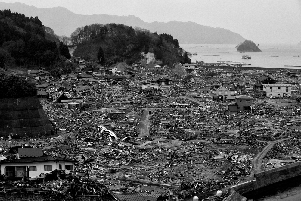 The Government of Japan estimated that the   2011 Tōhoku earthquake and tsunami destroyed 120,000 buildings, damaged 220,000 others, and washed another 78,000 buildings into the sea. Destroyed houses in Yamada, Iwati Prefecture, Japan, March 26, 2011. (Photo/Mark Pearson)