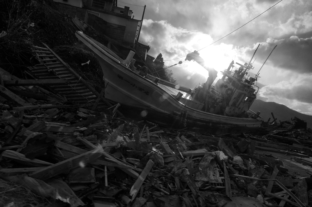 A destroyed fishing boat in Ofunato, Iwate, Japan, March 23, 2011. (Photo/ Mark Pearson) Almost all of the 29,000 fishing boats in Miyagi, Iwate, and Fukushima prefectures were rendered unusable after the 2011 Tōhoku earthquake and tsunami struck.12,000 fishing boats in Miyagi prefecture were destroyed or damaged, and at least 440 fishermen were killed or missing.