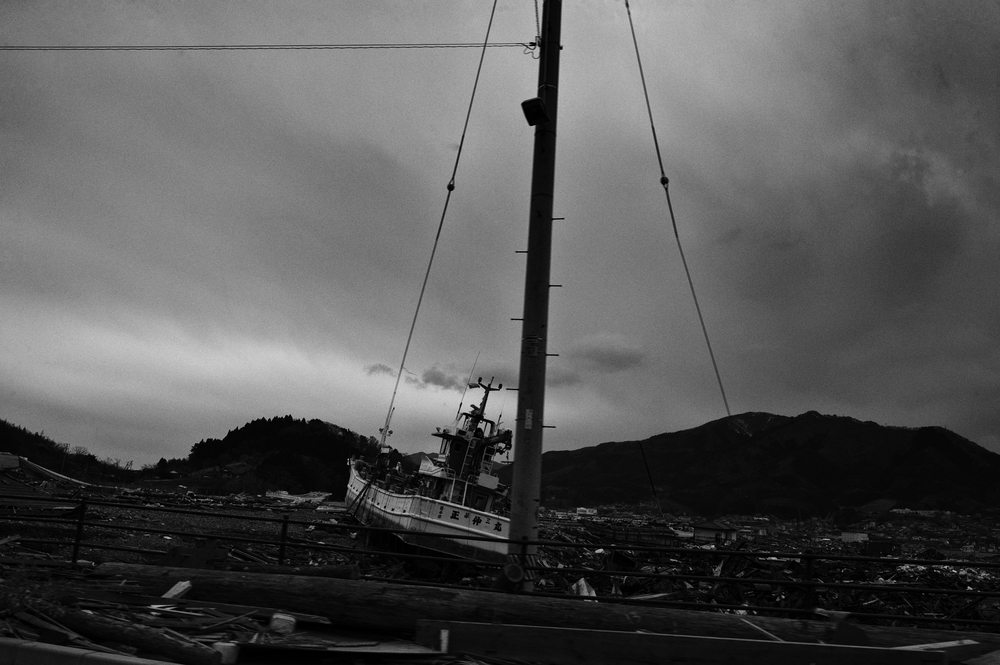 Destroyed fishing boat in Ofunato, Iwate, Japan, March 23, 2011. (Photo/Mark Pearson) Almost all of the 29,000 fishing boats in Miyagi, Iwate, and Fukushima prefectures were rendered unusable after the 2011 Tōhoku earthquake and tsunami struck.12,000 fishing boats in Miyagi prefecture were destroyed or damaged, and at least 440 fishermen were killed or missing.