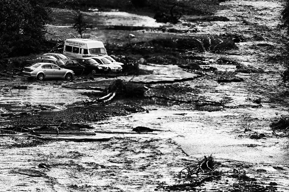 Hundreds of cars washed away with the floods in Boscastle, Cornwall, August 16, 2004. (Photo/Mark Pearson)