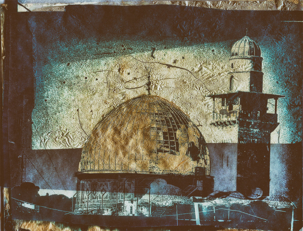 "7"" x 5"" Cyanotype on Vellum with Gold Leaf of the Dome of the Rock, Jerusalem. (©Mark Pearson)"