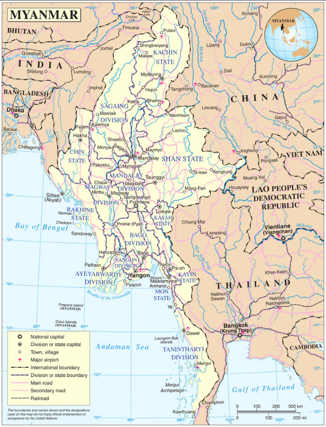 Map of Myanmar. Source: Wikipedia