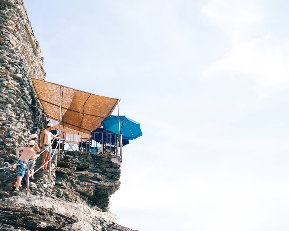 Climbing the castle walls in Vernazza, Cinque Terre, Italy