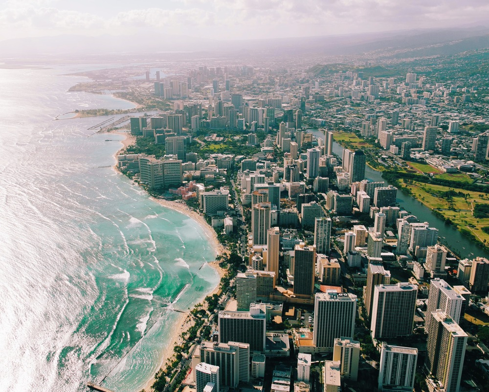 Waikiki Beach via helicopter shot with a Canon 6D