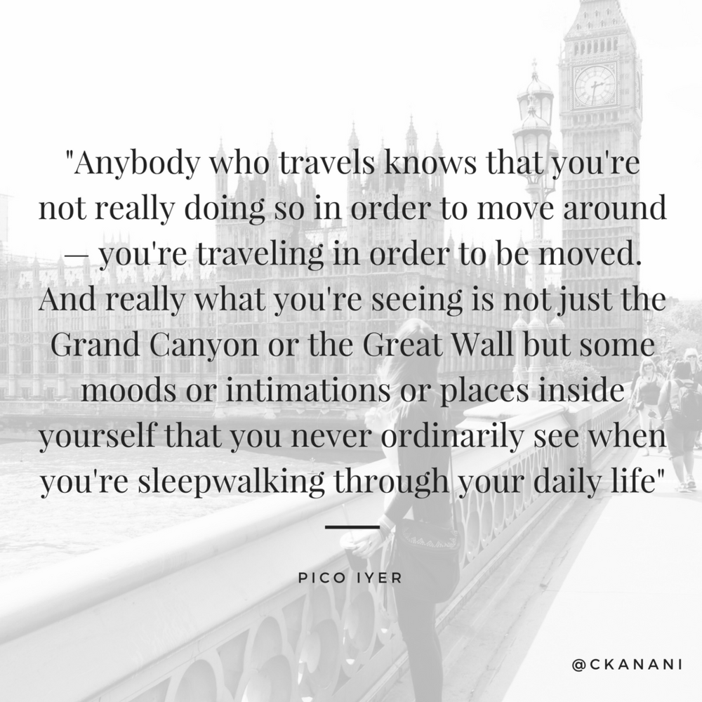 """Anybody who travels knows that you're not really doing so in order to move around..."" #travelquote 