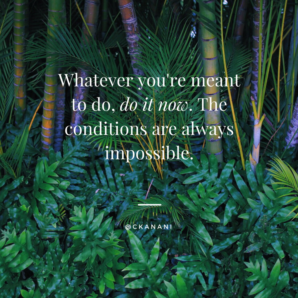 """Whatever you're meant to do, do it now. The conditions are always impossible"" #travelquote 