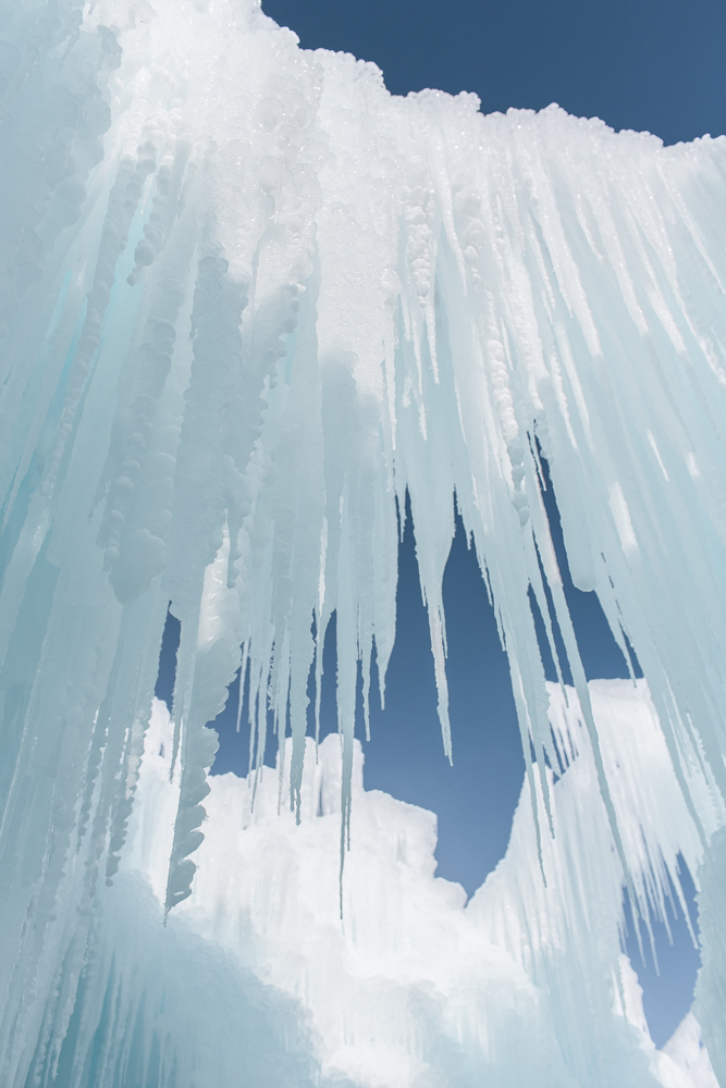 Looking up at the Ice Castles