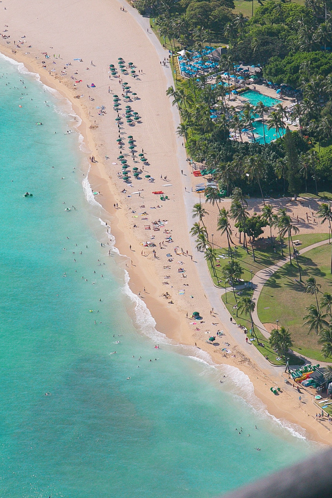 Oahu doors off helicopter tour - Waikiki beach from above