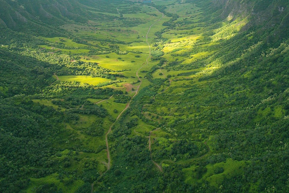 Kualoa Ranch views from a helicopter