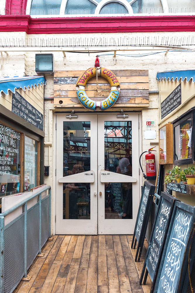 The adorable entrance to the Altrincham Market House near Manchester, England