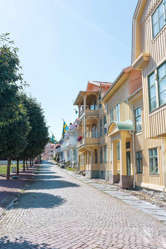 A cobblestone street in charming Marstrand