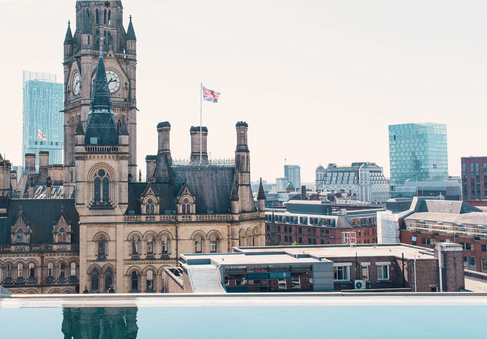The infinity pool at King Street Townhouse Hotel in Manchester