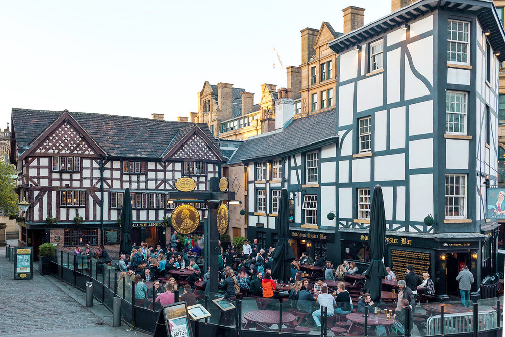 Shambles Square in Manchester.  A great spot to grab a drink outside!
