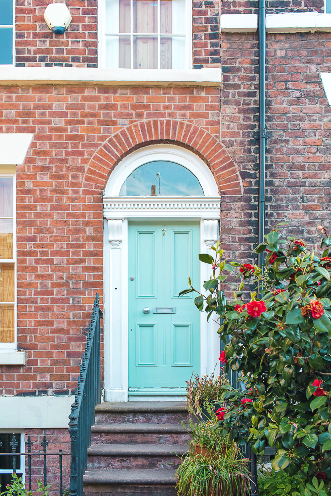 A pretty turquoise door in Liverpool, England