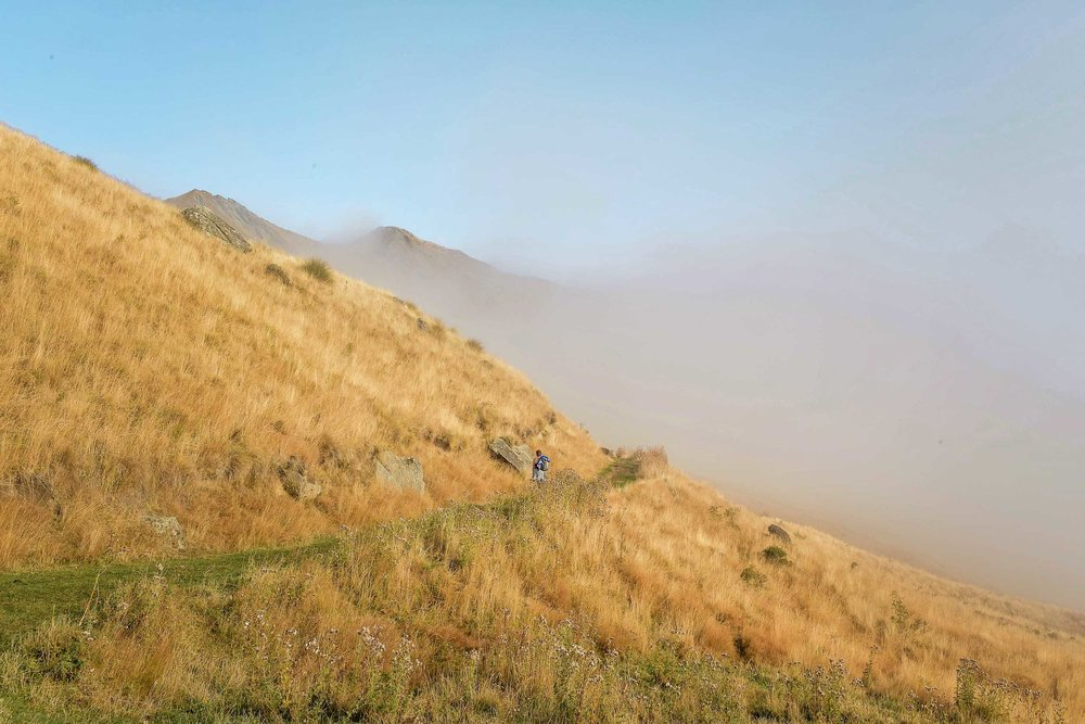 The Roys Peak hike offers no coverage from the sun the entire way