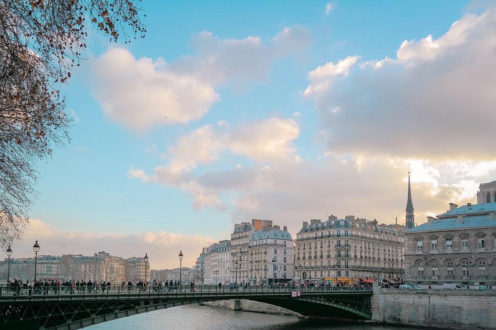 Sunny skies in Paris in winter