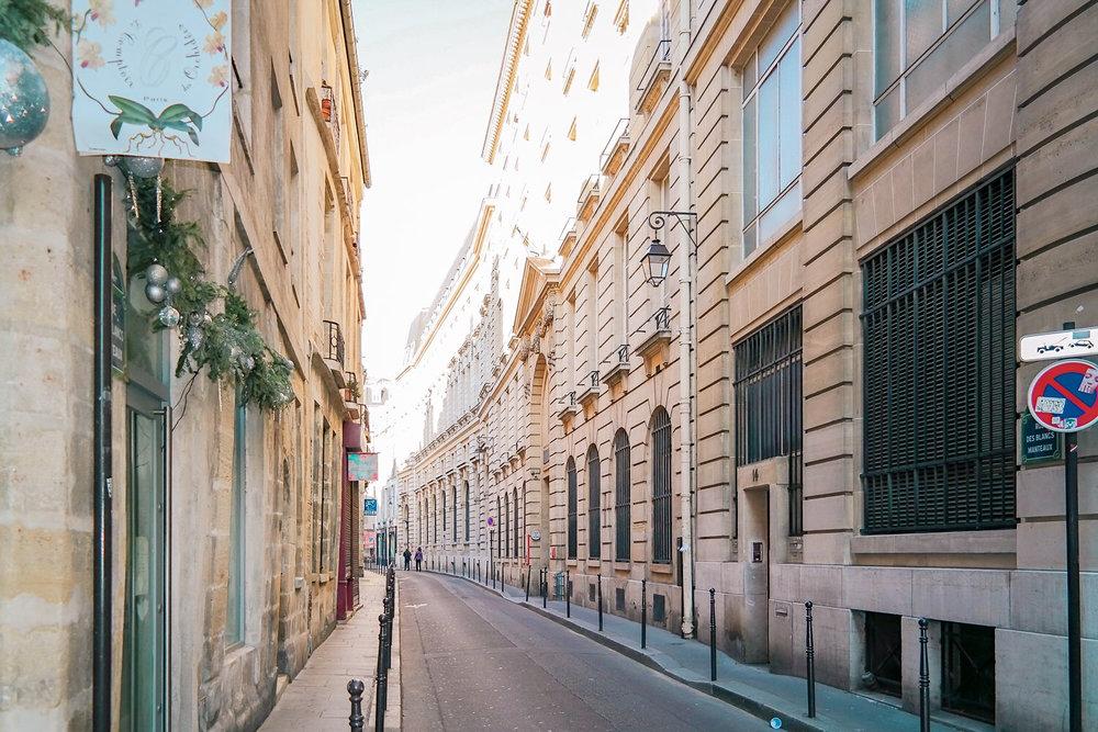 Golden hour on a street in Le Marais