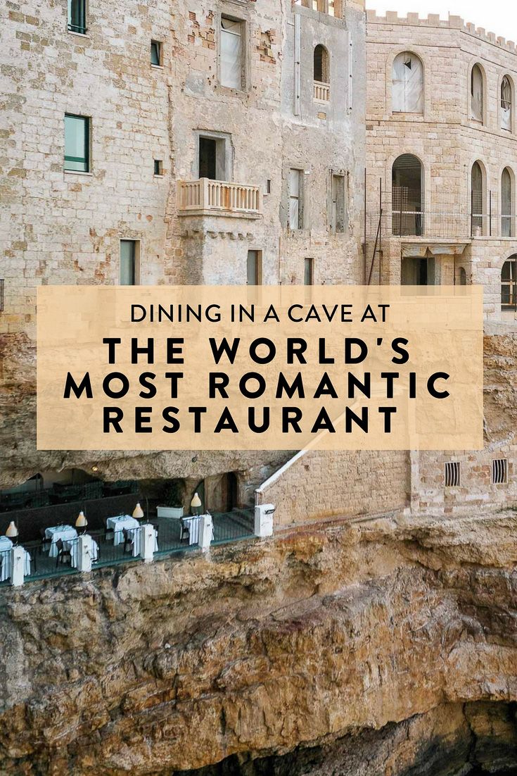 Dining in a cave at the world's most romantic restaurant in Polignano A Mare, Puglia, Italy