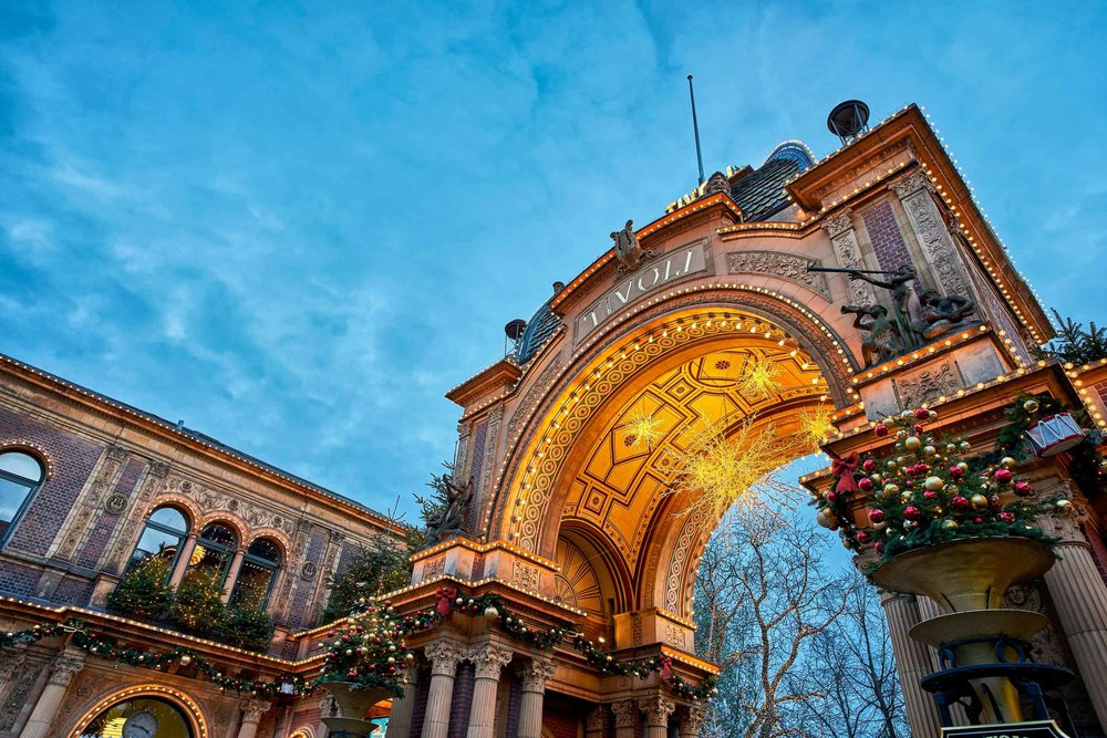 The entrance to Tivoli amusement park in the center of Copenhagen