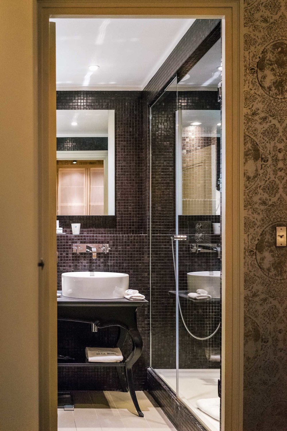 A beautiful bathroom at Pavillon de la Reine, five star hotel in Marais, Paris