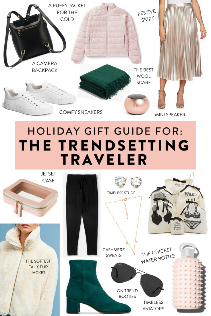 Holiday gift guide for the stylish traveler.   Unique gifts at every price point for the fashionable traveler in your life!