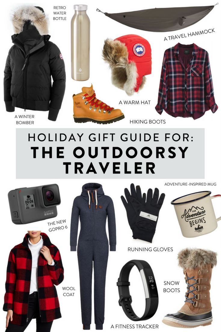 Holiday gift guide for the outdoorsy traveler. Unique gifts at every price point for the outdoors loving traveler in your life!