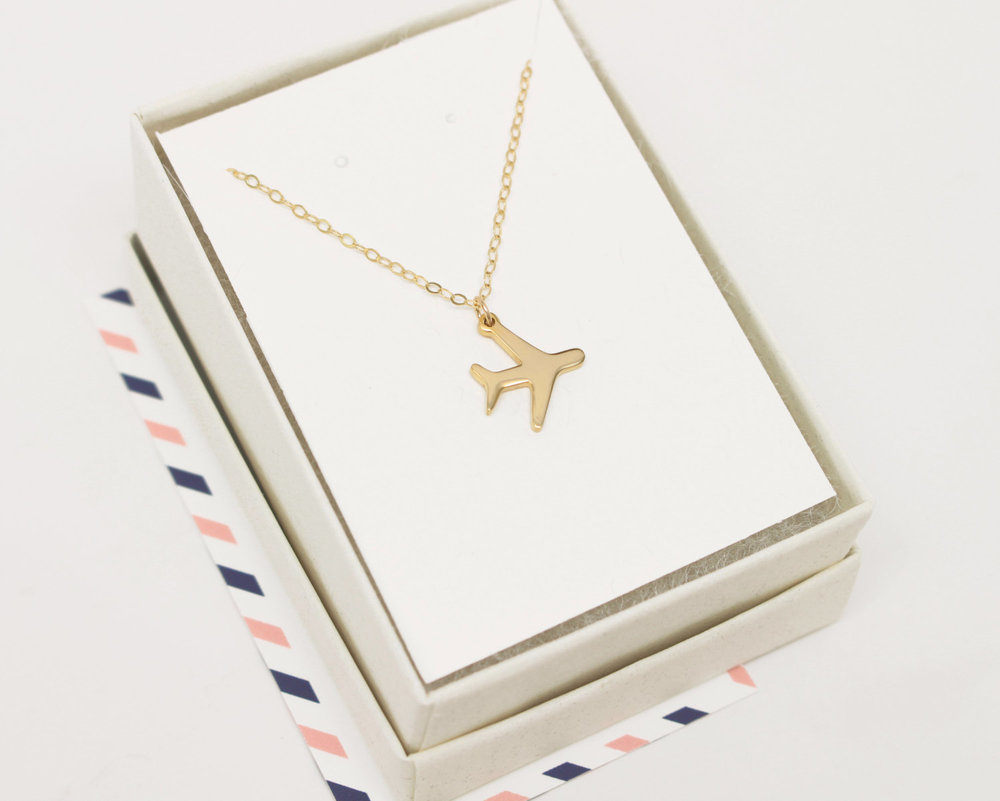 Gold Airplane Necklace - Travel Inspired Jewelry