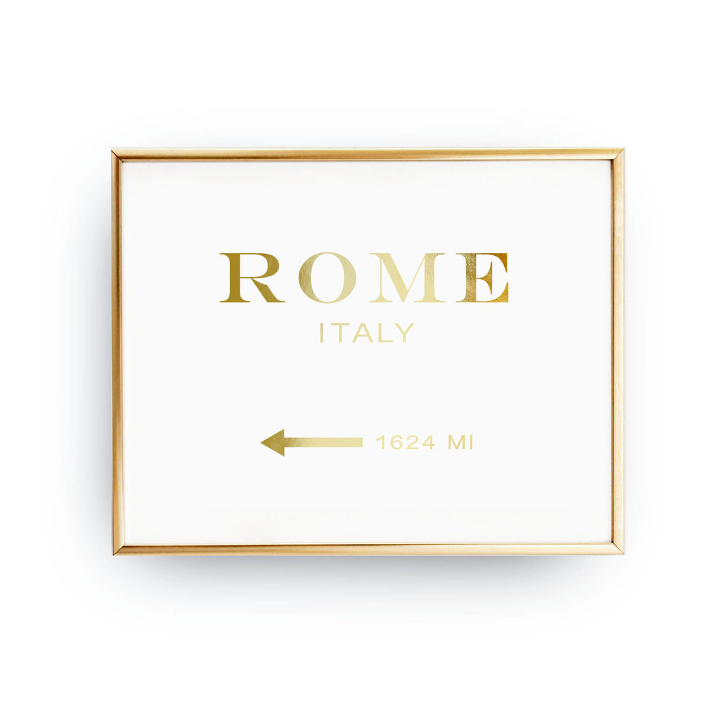 Rome Italy gold poster - Italy inspired gifts