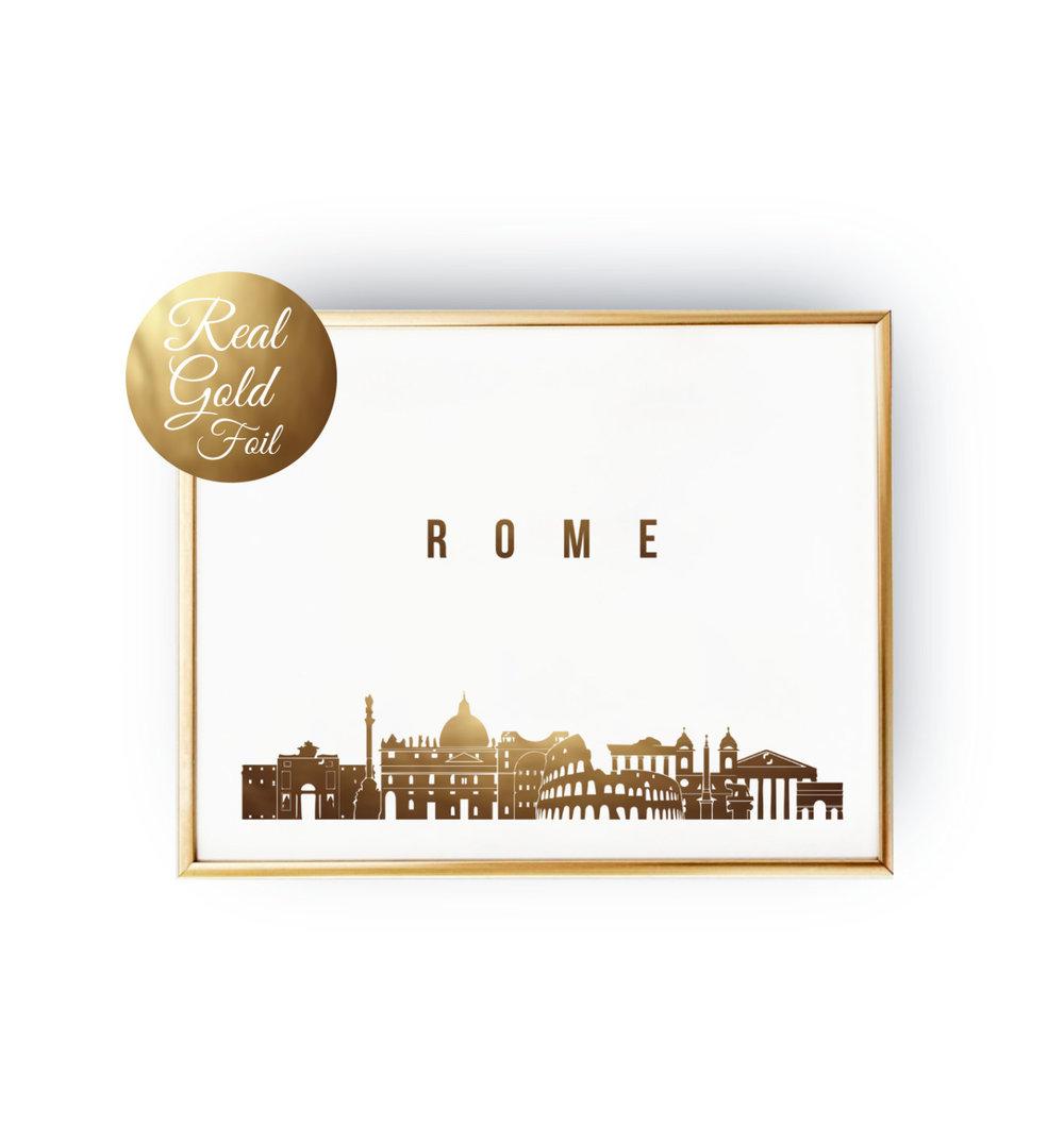 Rome skyline gold foil poster