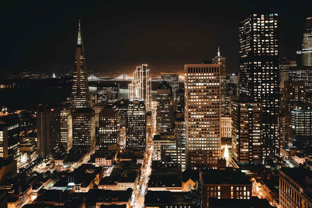 Nighttime views of downtown from the Fairmont San Francisco