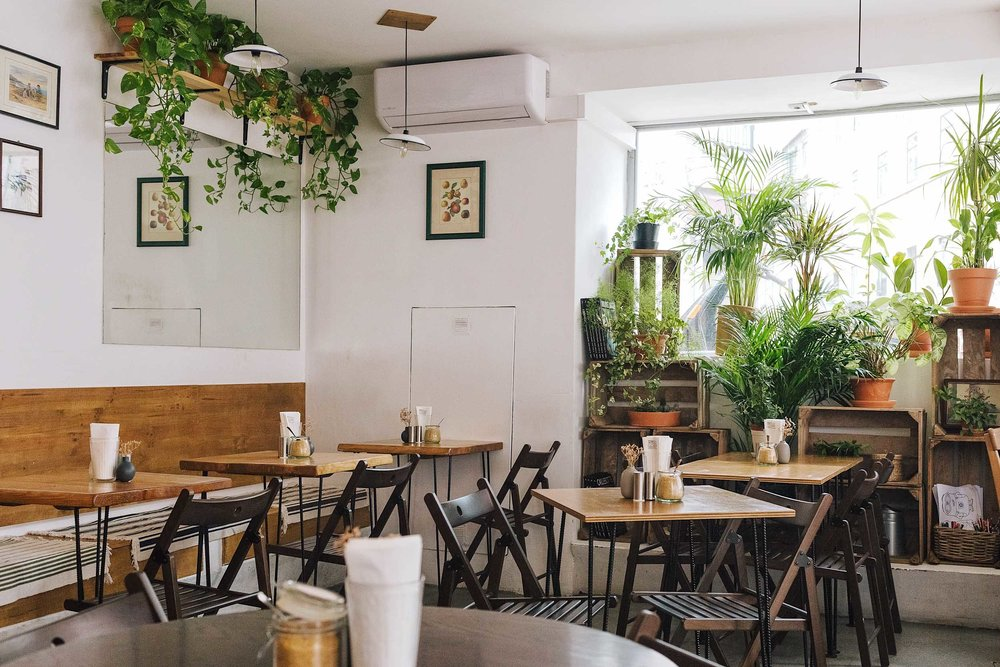 Heim is a Lisbon cafeoffering all day brunch, fresh juices, good coffee, and a space covered in greenery