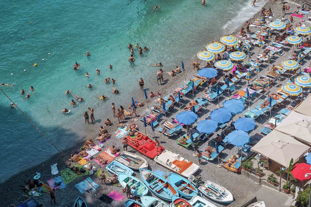 La dolce vita: summertime beach goers on the Amalfi Coast