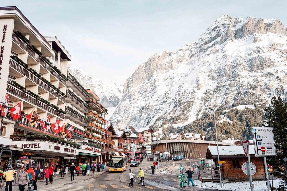Grindewald Switzerland village as seen from the train station