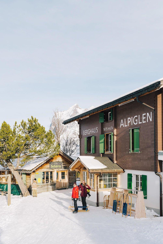 Taking a quick sledging break in Alpiglen